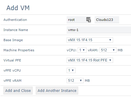 This is how it looks when adding a vMX with RIOT PFE